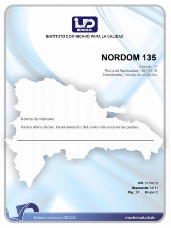 NORDOM 135 - PASTAS ALIMENTICIAS. DETERMINACIÓN DEL CONTENIDO NETO EN LAS PASTAS.