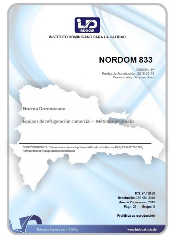 NORDOM 833 - EQUIPOS DE REFRIGERACIÓN COMERCIAL — MÉTODOS DE PRUEBA