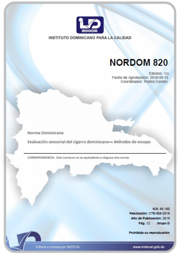 NORDOM 820 - EVALUACIÓN SENSORIAL DEL CIGARRO DOMINICANO - MÉTODOS DE ENSAYO