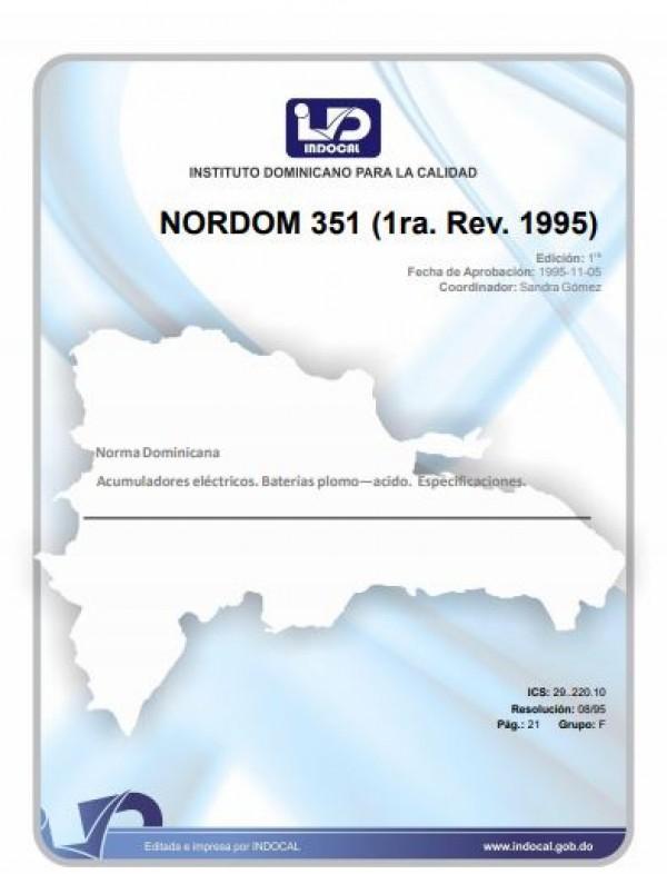 NORDOM 351- ACUMULADORES ELÉCTRICOS. BATERÍAS PLOMO-ÁCIDO. ESPECIFICACIONES. (1RA. REV. 1995).