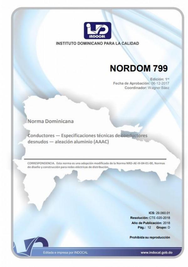 NORDOM 799- CONDUCTORES — ESPECIFICACIONES TÉCNICAS DE CONDUCTORES DESNUDOS — ALEACIÓN ALUMINIO (AAAC)