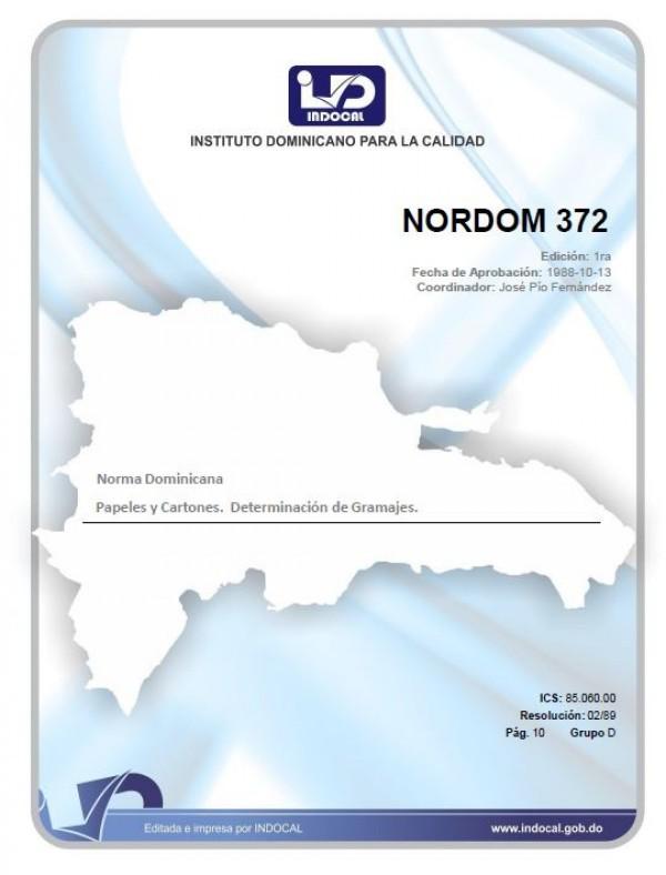 NORDOM 372 - PAPELES Y CARTONES. DETERMINACION DEL GRAMAJE.