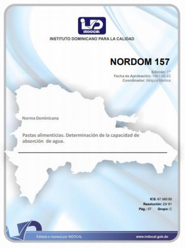 NORDOM 157 - PASTAS ALIMENTICIAS. DETERMINACIÓN DE LA CAPACIDAD DE ABSORCIÓN DE AGUA.