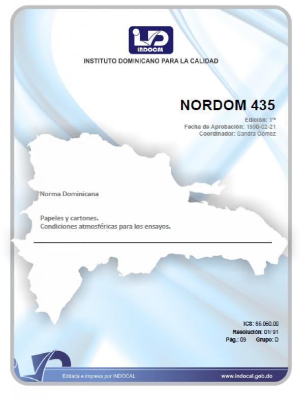 NORDOM 435- PAPELES Y CARTONES. CONDICIONES ATMOSFERICAS PARA LOS ENSAYOS.