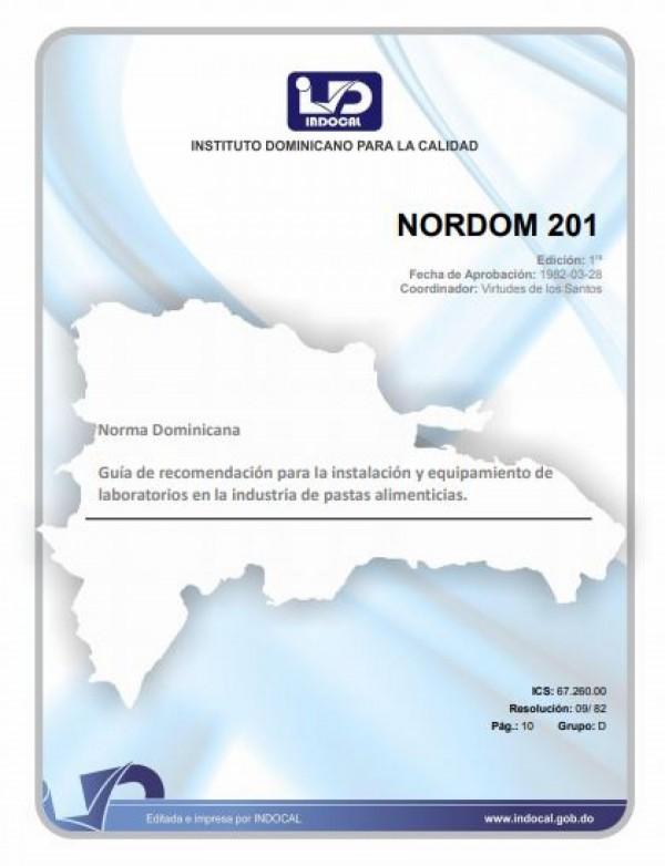 NORDOM 201- GUÍA DE RECOMENDACIÓN PARA LA INSTALACIÓN Y EQUIPAMIENTO DE LABORATORIOS EN LA INDUSTRIA DE PASTAS ALIMENTICIAS.