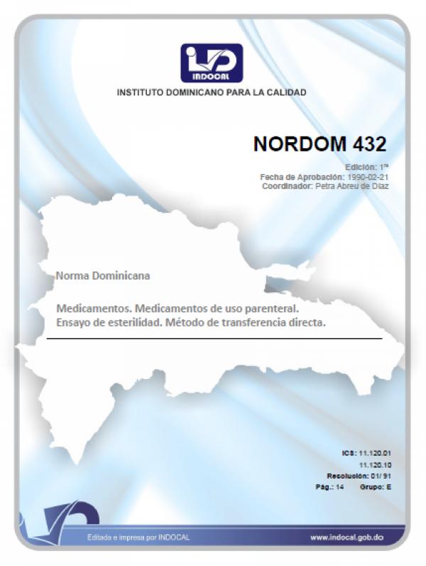 NORDOM 432 - MEDICAMENTOS. MEDICAMENTOS DE USO PARENTERAL. ENSAYO DE ESTERILIDAD. MÉTODO DE TRANSFERENCIA DIRECTA.