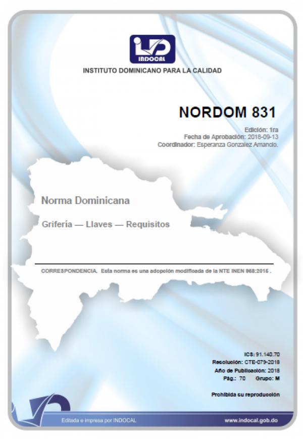 NORDOM 831 - GRIFERÍA — LLAVES — REQUISITOS