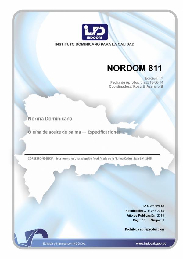 NORDOM 811- OLEINA DE ACEITE DE PALMA — ESPECIFICACIONES