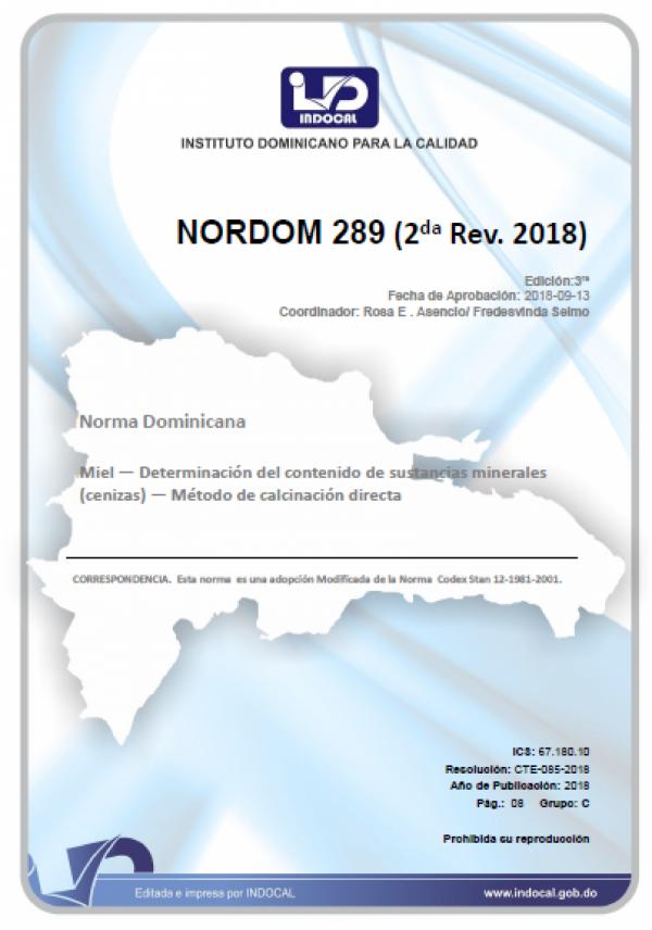NORDOM 289 - MIEL.  DETERMINACIÓN DEL CONTENIDO DE SUSTANCIAS MINERALES (CENIZAS) - MÉTODO DE CALCINACIÓN DIRECTA (2DA. REV. 2018)