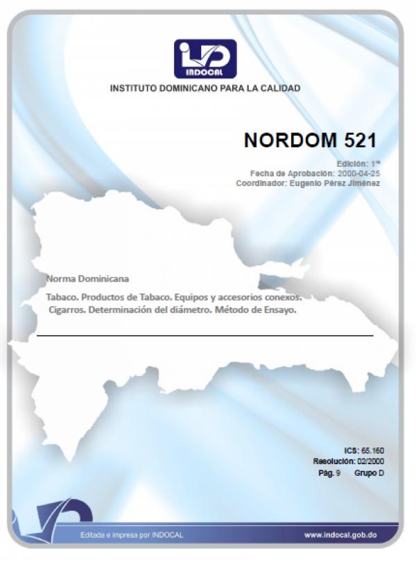 NORDOM 521 - TABACO, PRODUCTOS DE TABACO, EQUIPOS Y ACCESORIOS CONEXOS. CIGARROS. DETERMINACION DEL COLOR. METODO DE ENSAYO.