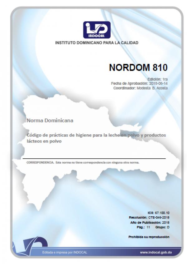 NORDOM 810- CODIGO DE PRACTICAS DE HIGIENE PARA LA LECHE EN POLVO Y PRODUCTOS LACTEOS EN POLVO