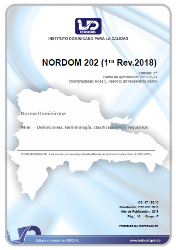NORDOM 202 - MIEL — DEFINICIONES, TERMINOLOGÍA, CLASIFICACIONES Y REQUISITOS (1RA. REV.2018)