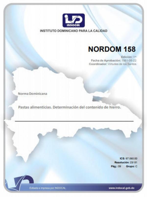 NORDOM 158 - PASTAS ALIMENTICIAS. DETERMINACIÓN DEL CONTENIDO DE HIERRO.