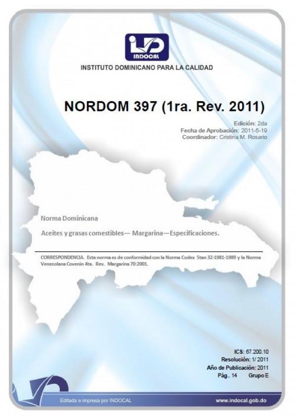 NORDOM 397 - ACEITES Y GRASAS COMESTIBLES - MARGARINA - ESPECIFICACIONES. (1RA. REV. 2011)