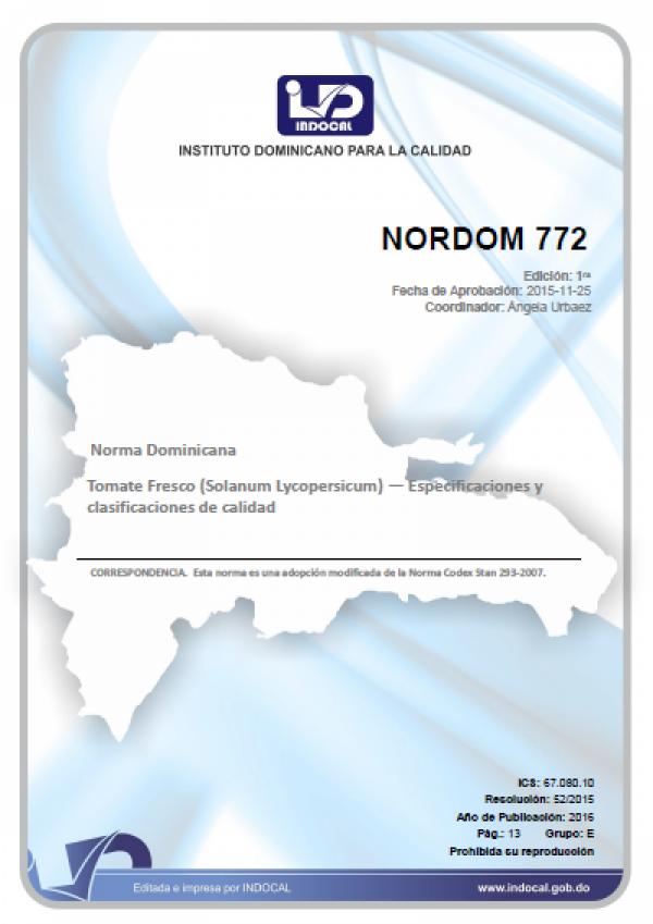 NORDOM 772 - TOMATE FRESCO (SOLANUM LYCOPERSICUM) - ESPECIFICACIONES Y CLASIFICACIONES DE CALIDAD.