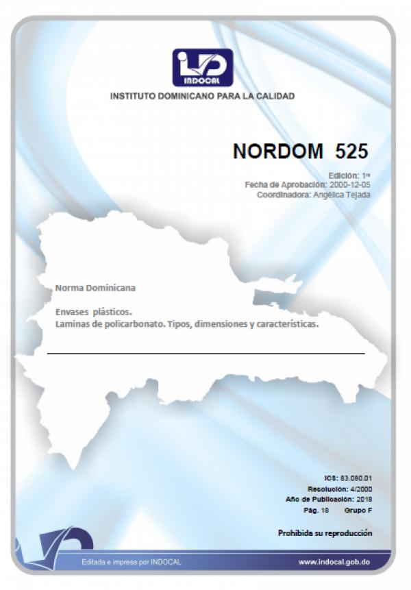 NORDOM 525 - ENVASES PLASTICOS. LAMINAS DE POLICARBONATO. TIPOS, DIMENSIONES Y CARACTERISTICAS.