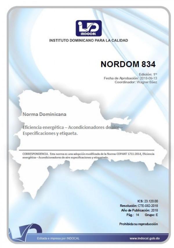 NORDOM 834 - EFICIENCIA ENERGÉTICA – ACONDICIONADORES DE AIRE – ESPECIFICACIONES Y ETIQUETA.