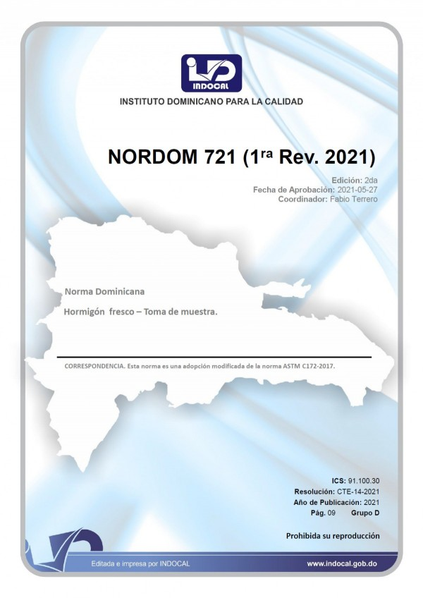 NORDOM 721 - HORMIGÓN FRESCO - TOMA DE MUESTRA. (1RA. REV. 2021)