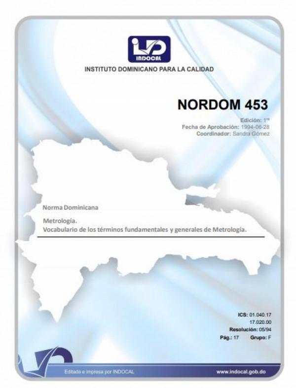 NORDOM 453- METROLOGÍA. VOCABULARIO DE LOS TÉRMINOS FUNDAMENTALES Y GENERALES DE METROLOGÍA.