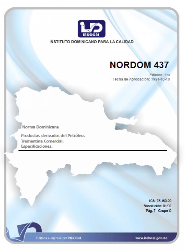 NORDOM 437 - PRODUCTOS DERIVADOS DEL PETROLEO. TREMENTINA COMERCIAL. ESPECIFICACIONES.