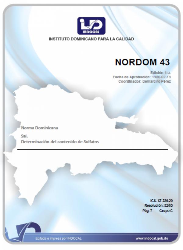 NORDOM 43 - SAL. DETERMINACION DEL CONTENIDO DE SULFATOS.