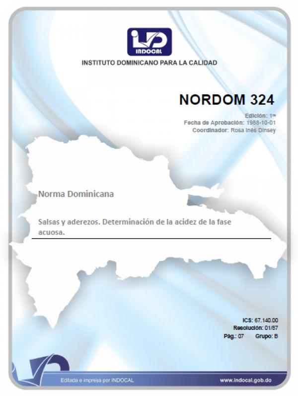 NORDOM 324 - SALSAS Y ADEREZOS. DETERMINACIÓN DE LA ACIDEZ DE LA FASE ACUOSA.