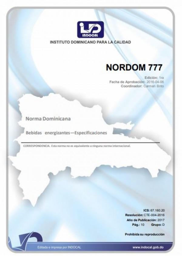 NORDOM 777- BEBIDAS ENERGIZANTES - ESPECIFICACIONES.