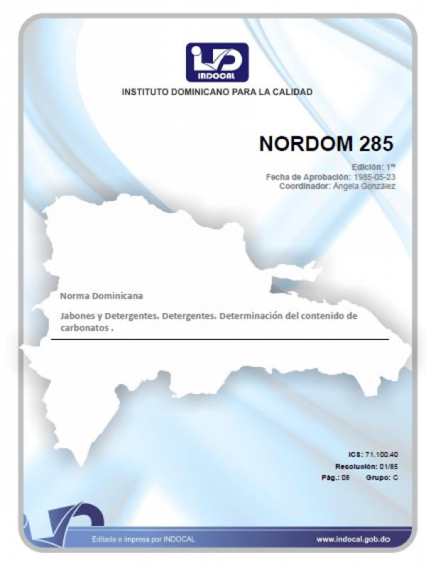 NORDOM 285 - JABONES Y DETERGENTES. DETERGENTES. DETERMINACION DEL CONTENIDO DE CARBONATOS.