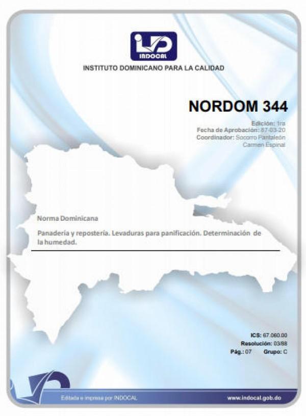 NORDOM 344 - PANADERIA Y REPOSTERIA. LEVADURAS PARA PANIFICACION. DETERMINACION DE LA HUMEDAD.