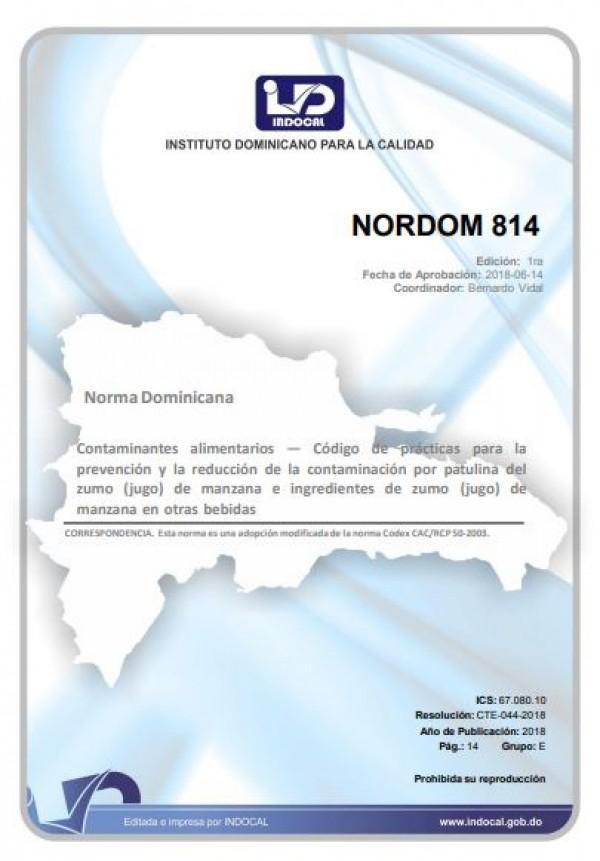 NORDOM 814- CONTAMINANTES ALIMENTARIOS — CÓDIGO DE PRÁCTICAS PARA LA PREVENCIÓN Y LA REDUCCIÓN DE LA CONTAMINACIÓN POR PATULINA DEL ZUMO (JUGO) DE MANZANA E INGREDIENTES DE ZUMO (JUGO) DE MANZANA EN OTRAS BEBIDAS.
