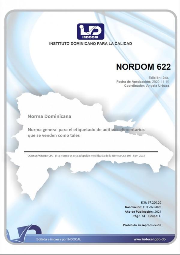 NORDOM 622 - NORMA GENERAL PARA EL ETIQUETADO DE ADITIVOS ALIMENTARIOS QUE SE VENDEN COMO TALES. (1RA. REV. 2020)