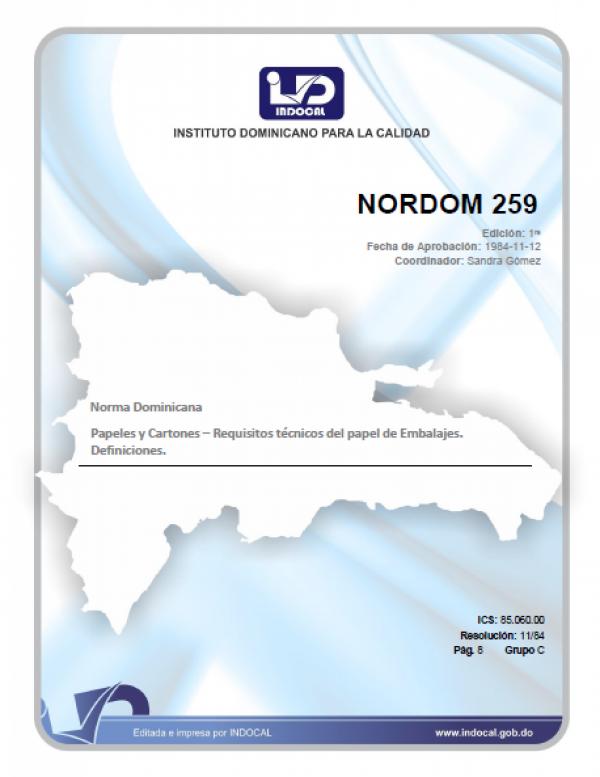 NORDOM 259 - PAPELES Y CARTONES. REQUISITOS TECNICOS DEL PAPEL DE EMBALAJE. DEFINICIONES.