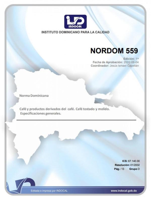 NORDOM 559 - CAFÉ Y PRODUCTOS DERIVADOS DEL CAFÉ. CAFÉ TOSTADO Y MOLIDO. ESPECIFICACIONES GENERALES.
