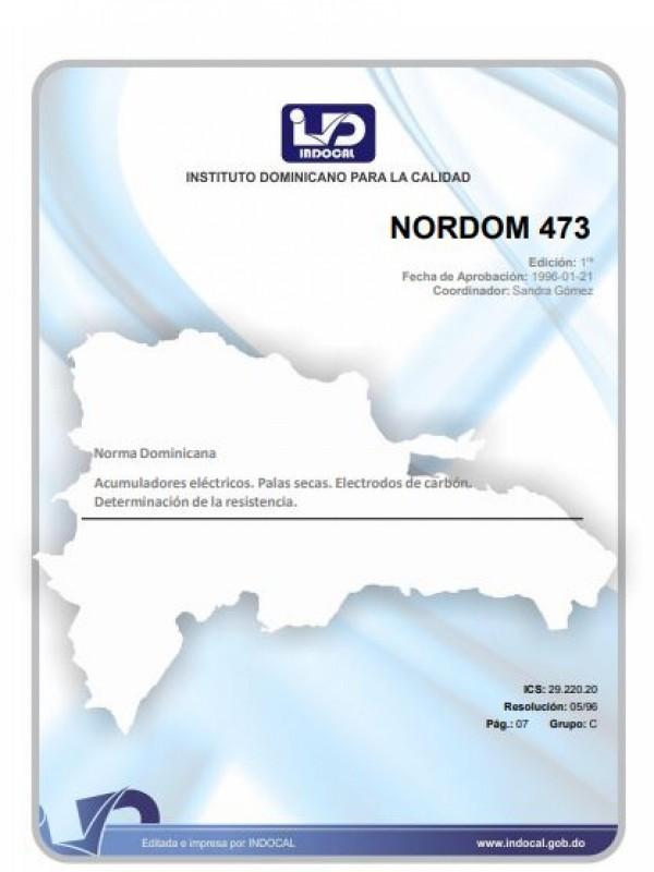 NORDOM 473- ACUMULADORES ELÉCTRICOS. PILAS SECAS. ELECTRODOS DE CARBÓN. DETERMINACIÓN DE LA RESISTENCIA.