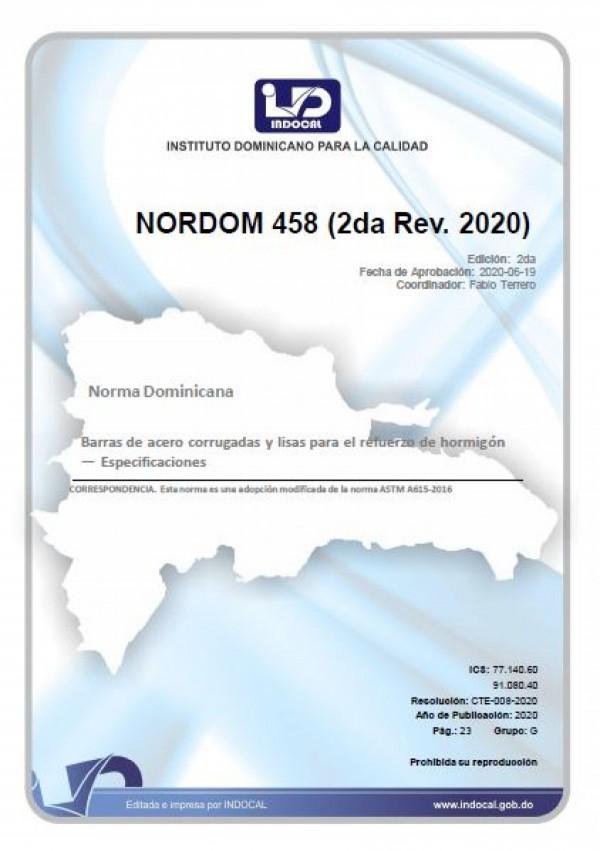 NORDOM 458 - BARRAS DE ACERO CORRUGADAS Y LISAS PARA EL REFUERZO DE HORMIGÓN - ESPECIFICACIONES (2DA. REV. 2020)