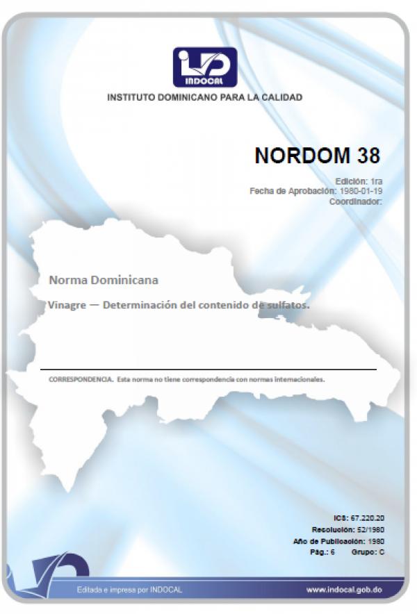 NORDOM 38 - VINAGRE. DETERMINACION DEL CONTENIDO DE SULFATOS.
