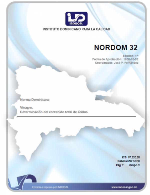 NORDOM 32 - VINAGRE. DETERMINACION DEL CONTENIDO TOTAL DE ACIDOS.