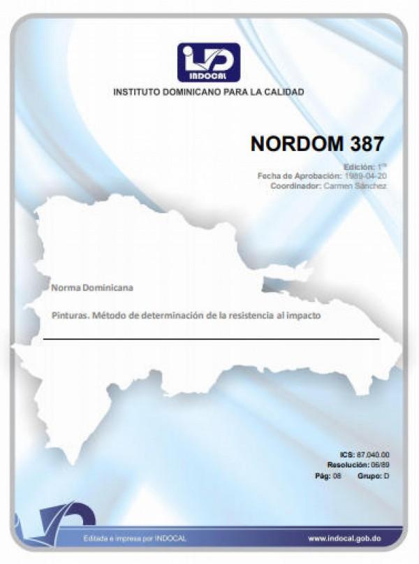 NORDOM 387 - PINTURAS. MÉTODO DE DETERMINACIÓN DE LA RESISTENCIA AL IMPACTO.