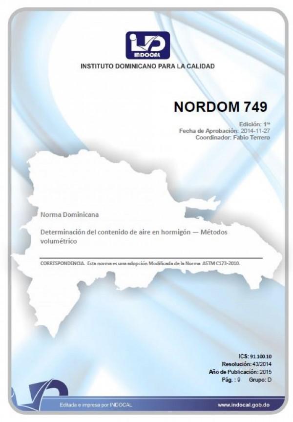NORDOM 749 - DETERMINACIÓN DEL CONTENIDO DE AIRE EN HORMIGÓN - MÉTODOS VOLUMÉTRICO.