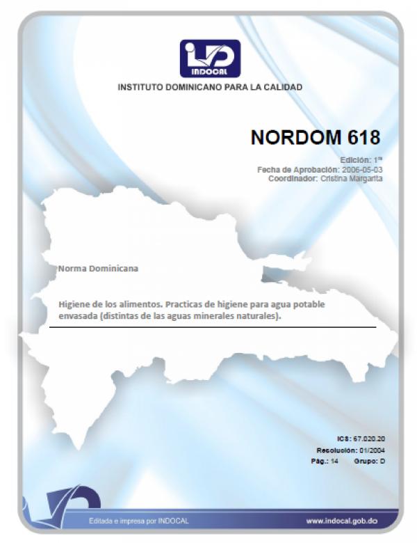 NORDOM 618 - HIGIENE DE LOS ALIMENTOS. PRACTICAS DE HIGIENE PARA AGUA POTABLE ENVASADA (DISTINTAS DE LAS AGUAS MINERALES NATURALES).