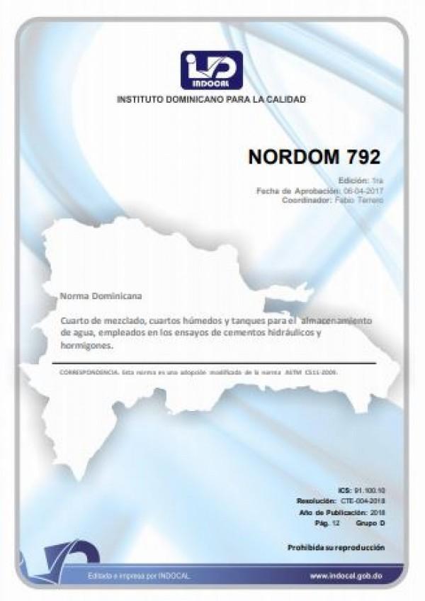 NORDOM 792- CUARTO DE MEZCLADO, CUARTOS HÚMEDOS Y TANQUES PARA EL ALMACENAMIENTO DE AGUA, EMPLEADOS EN LOS ENSAYOS DE CEMENTOS HIDRÁULICOS Y HORMIGONES.