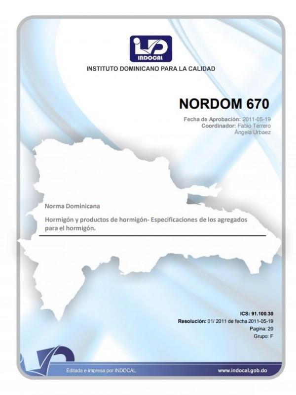 NORDOM 670- HORMIGÓN Y PRODUCTOS DE HORMIGÓN - ESPECIFICACIONES DE LOS AGREGADOS PARA EL HORMIGÓN.