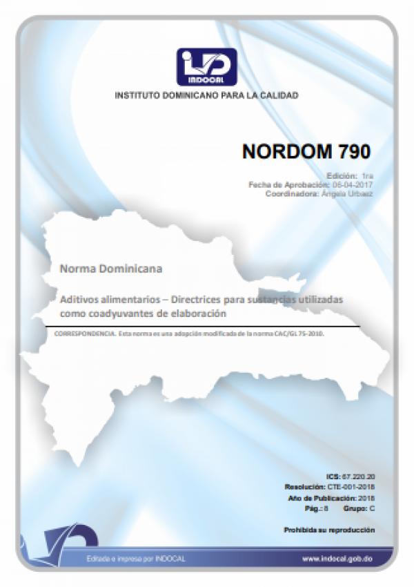 NORDOM 790 -DIRECTRICES PARA SUSTANCIAS UTILIZADAS COMO COADYUVANTES DE ELABORACION