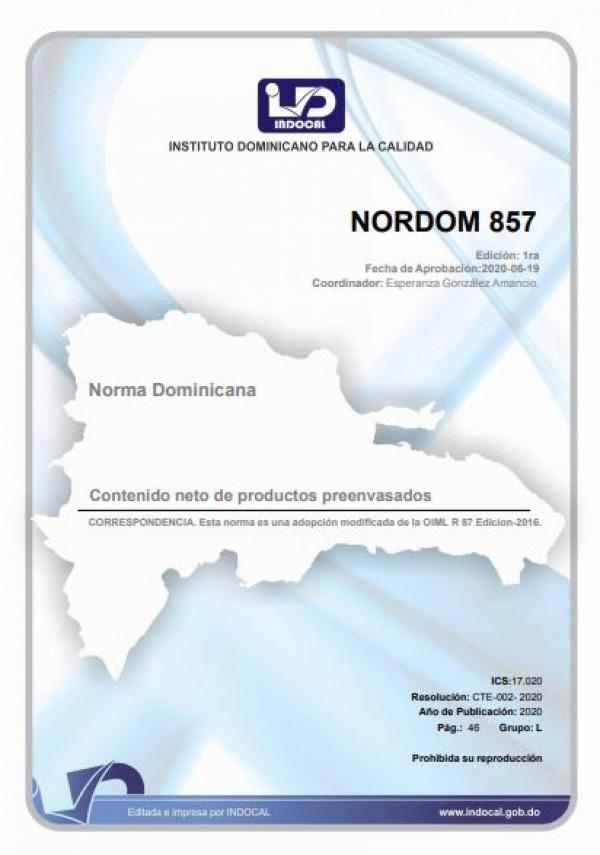 NORDOM 857- CONTENIDO NETO DE PRODUCTOS PREENVASADOS