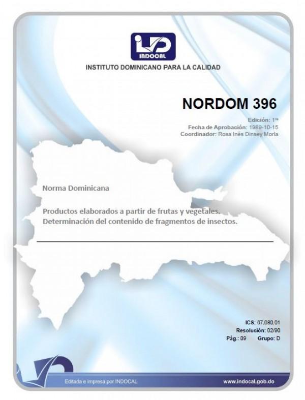 NORDOM 396 - PRODUCTOS ELABORADOS A PARTIR DE FRUTAS Y VEGETALES. DETERMINACIÓN DEL CONTENIDO DE FRAGMENTOS DE INSECTOS.
