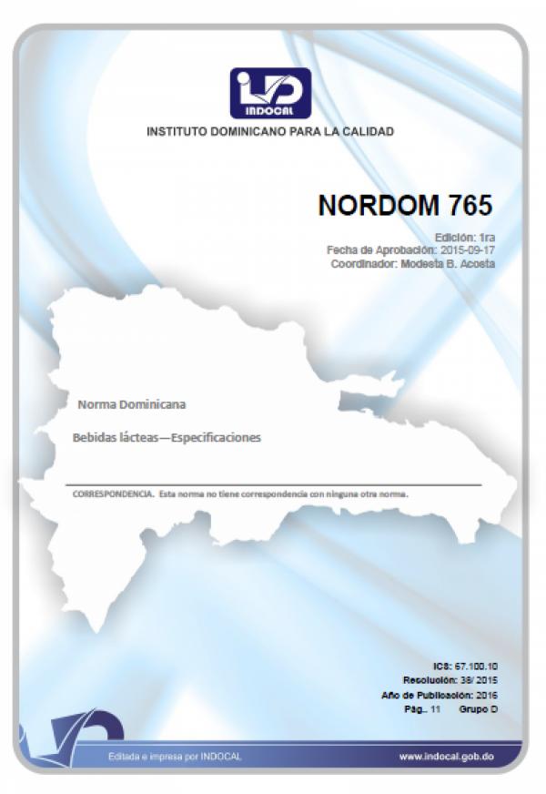 NORDOM 765- BEBIDAS LÁCTEAS - ESPECIFICACIONES.