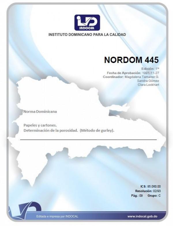 NORDOM 445 - PAPELES Y CARTONES. DETERMINACION DE LA POROSIDAD. (METODO GURLEY).