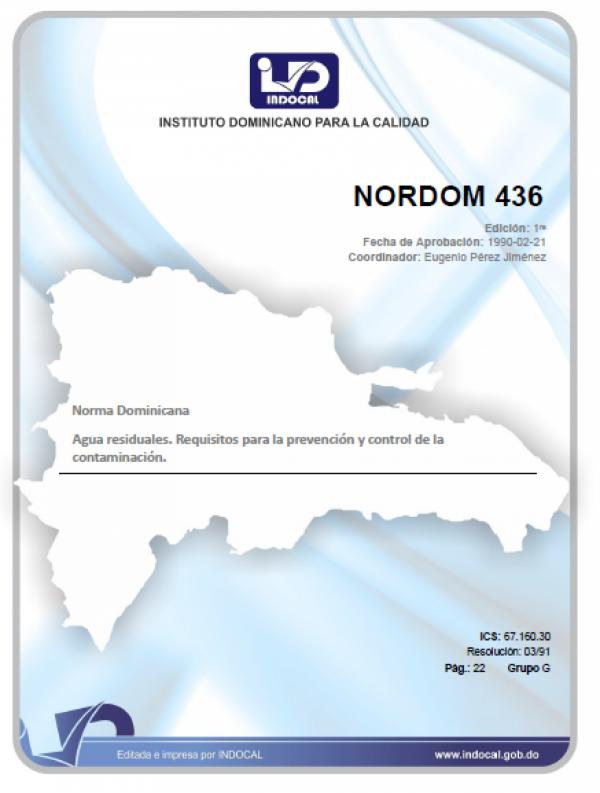 NORDOM 436 - AGUAS RESIDUALES. REQUISITOS PARA LA PREVENCIÓN Y CONTROL DE LA CONTAMINACIÓN.