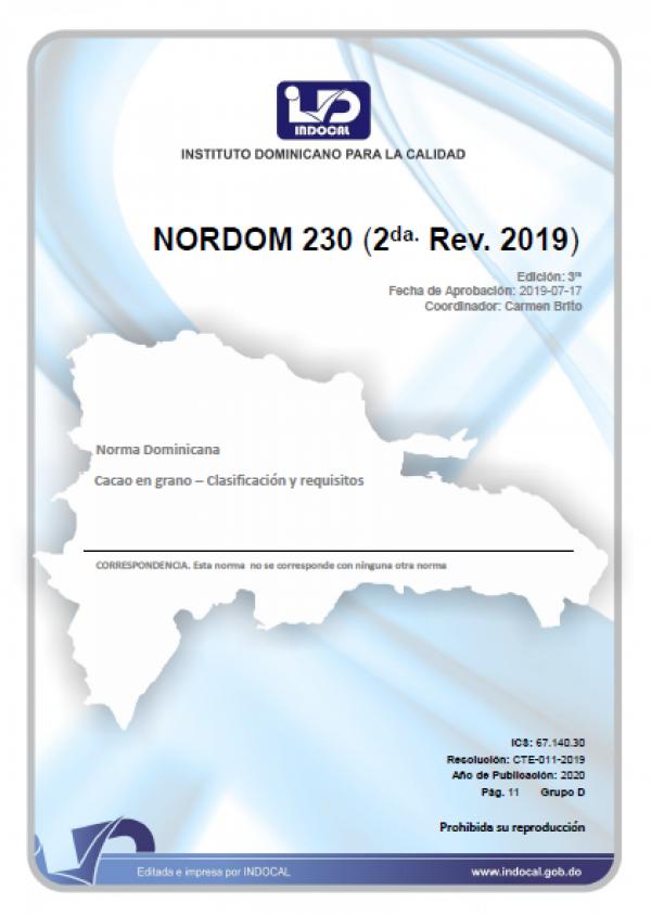 NORDOM 230- CACAO EN GRANO - CLASIFICACIÓN Y REQUISITOS. (2DA. REV. 2019.)