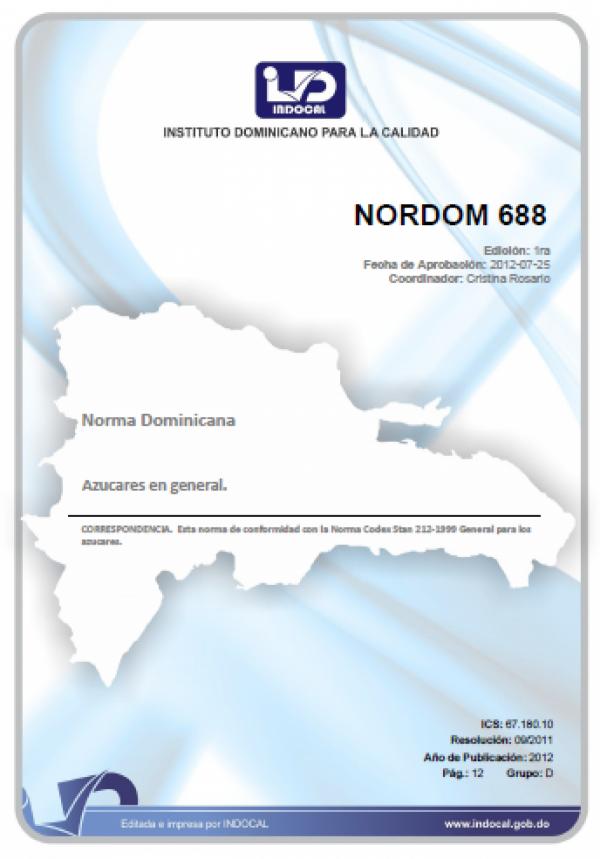 NORDOM 688- AZUCARES EN GENERAL.